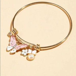 Faux Pearls & Butterfly Bracelet